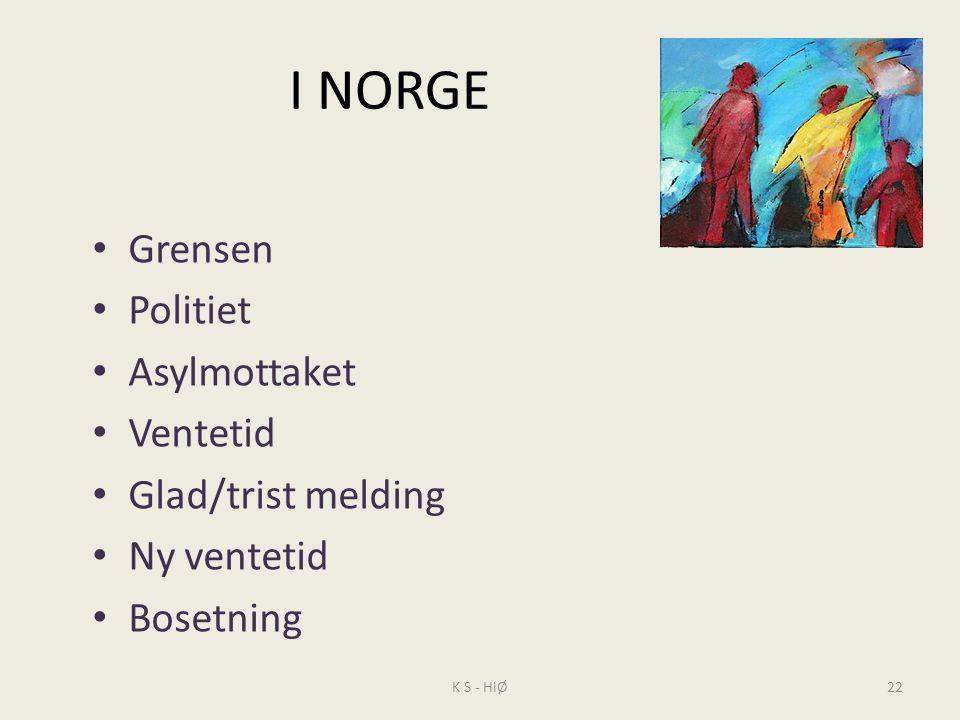 I NORGE Grensen Politiet Asylmottaket Ventetid Glad/trist melding Ny ventetid Bosetning 22K S - HiØ