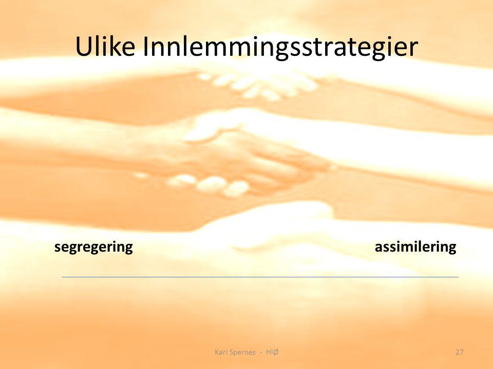 Ulike Innlemmingsstrategier segregeringassimilering 27Kari Spernes - HiØ