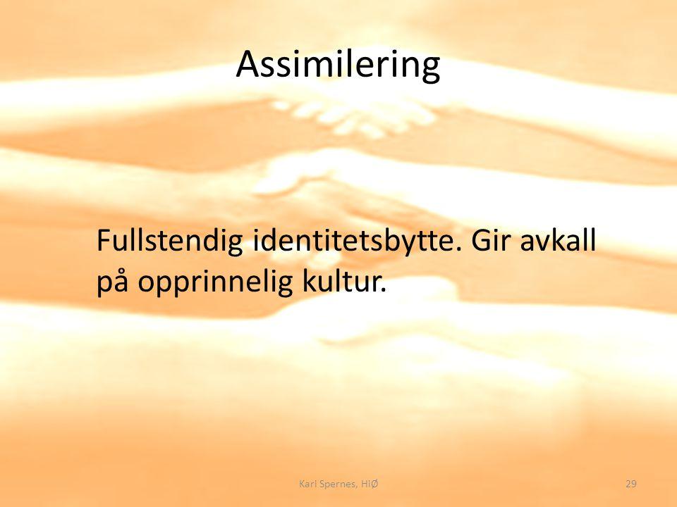 Assimilering Fullstendig identitetsbytte. Gir avkall på opprinnelig kultur. 29Kari Spernes, HiØ