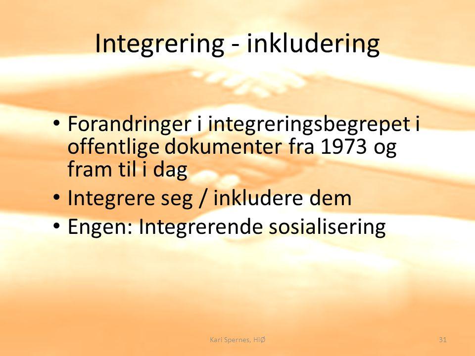Integrering - inkludering Forandringer i integreringsbegrepet i offentlige dokumenter fra 1973 og fram til i dag Integrere seg / inkludere dem Engen: