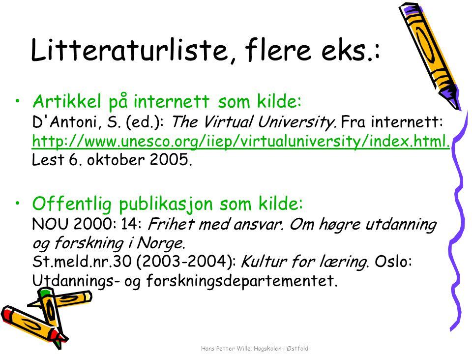 Hans Petter Wille, Høgskolen i Østfold Litteraturliste, flere eks.: Artikkel på internett som kilde: D'Antoni, S. (ed.): The Virtual University. Fra i