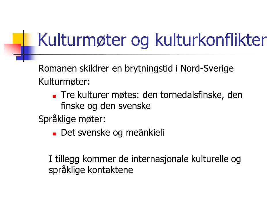Kulturmøter og kulturkonflikter Romanen skildrer en brytningstid i Nord-Sverige Kulturmøter: Tre kulturer møtes: den tornedalsfinske, den finske og de