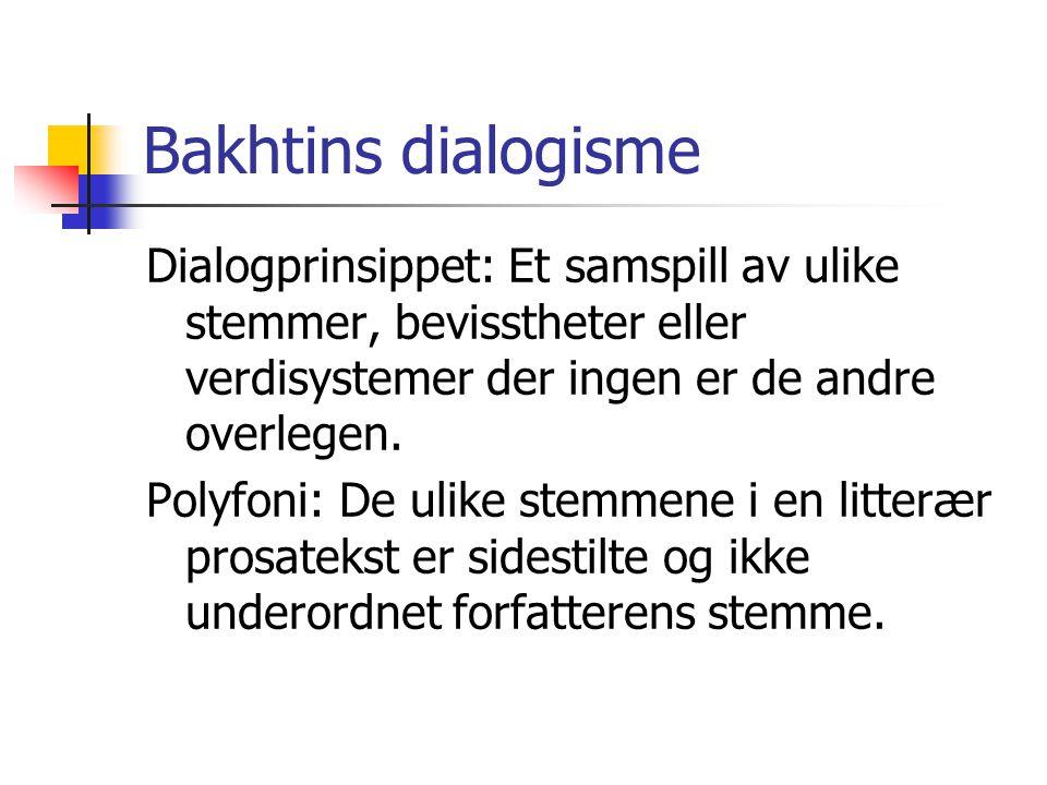 Bakhtins dialogisme Dialogprinsippet: Et samspill av ulike stemmer, bevisstheter eller verdisystemer der ingen er de andre overlegen. Polyfoni: De uli