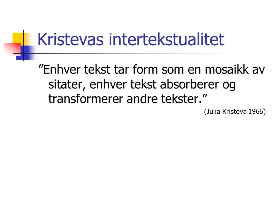 """Kristevas intertekstualitet """"Enhver tekst tar form som en mosaikk av sitater, enhver tekst absorberer og transformerer andre tekster."""" (Julia Kristeva"""