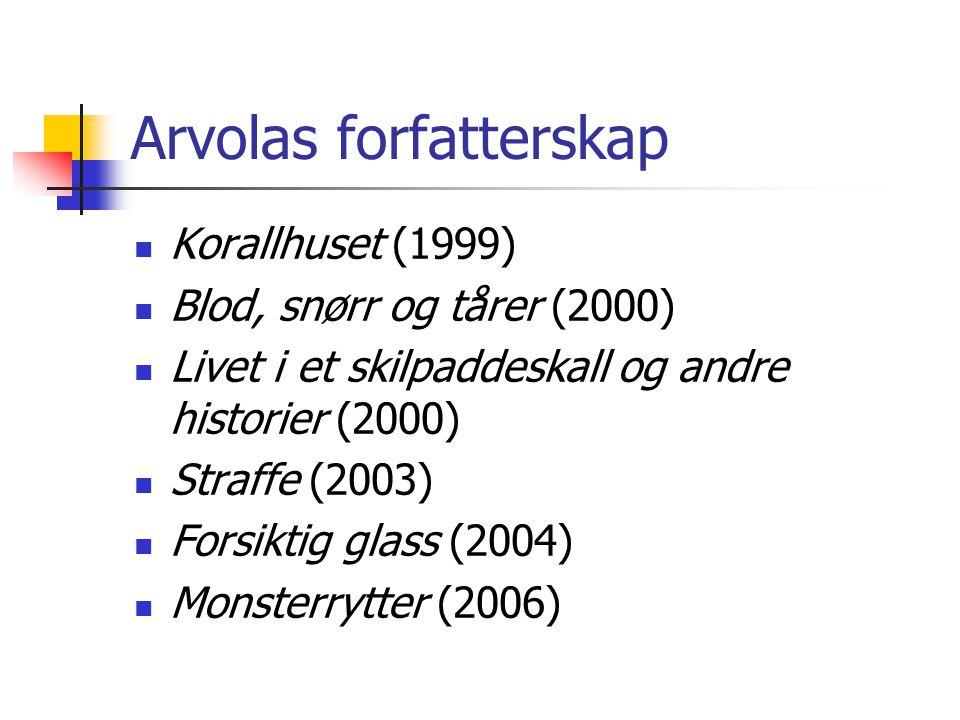 Arvolas forfatterskap Korallhuset (1999) Blod, snørr og tårer (2000) Livet i et skilpaddeskall og andre historier (2000) Straffe (2003) Forsiktig glass (2004) Monsterrytter (2006)