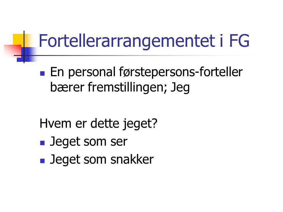 Fortellerarrangementet i FG En personal førstepersons-forteller bærer fremstillingen; Jeg Hvem er dette jeget.