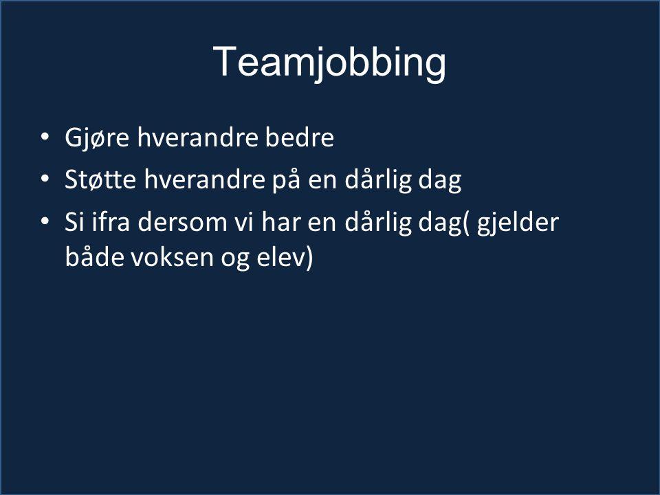 Teamjobbing Gjøre hverandre bedre Støtte hverandre på en dårlig dag Si ifra dersom vi har en dårlig dag( gjelder både voksen og elev)