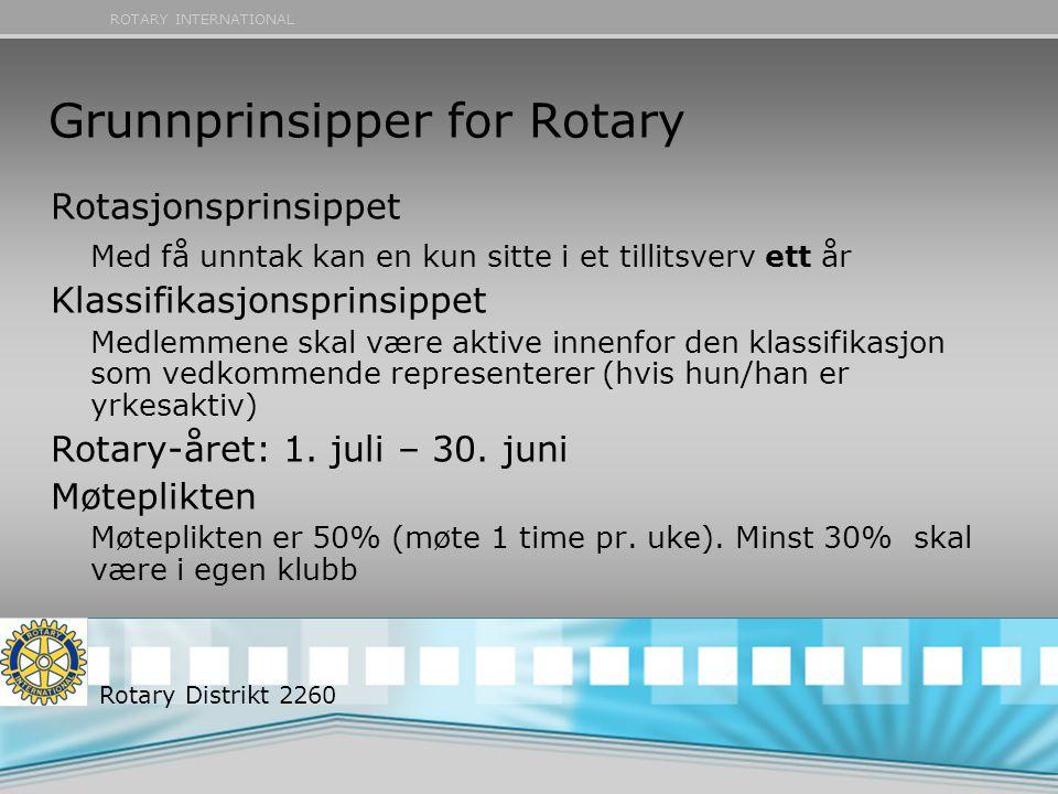 ROTARY INTERNATIONAL Grunnprinsipper for Rotary Rotasjonsprinsippet Med få unntak kan en kun sitte i et tillitsverv ett år Klassifikasjonsprinsippet M