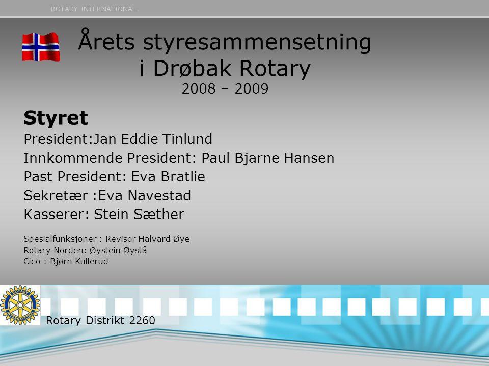 ROTARY INTERNATIONAL Årets styresammensetning i Drøbak Rotary 2008 – 2009 Rotary Distrikt 2260 Styret President:Jan Eddie Tinlund Innkommende Presiden