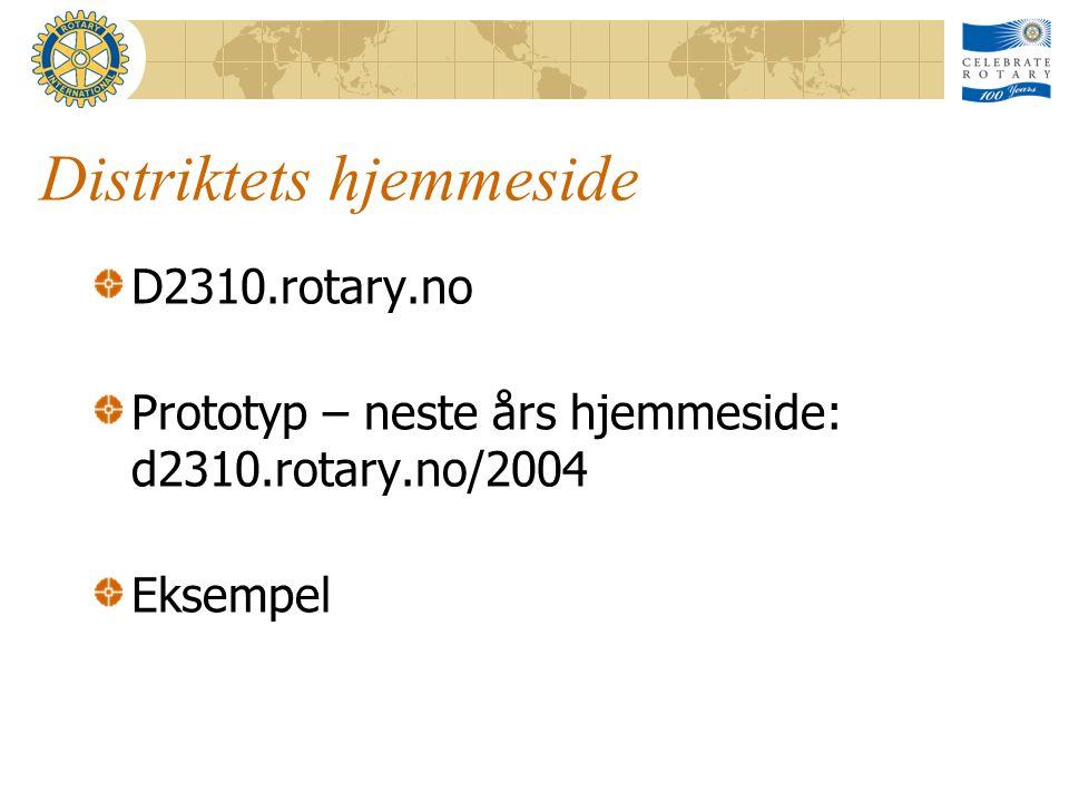Distriktets hjemmeside D2310.rotary.no Prototyp – neste års hjemmeside: d2310.rotary.no/2004 Eksempel