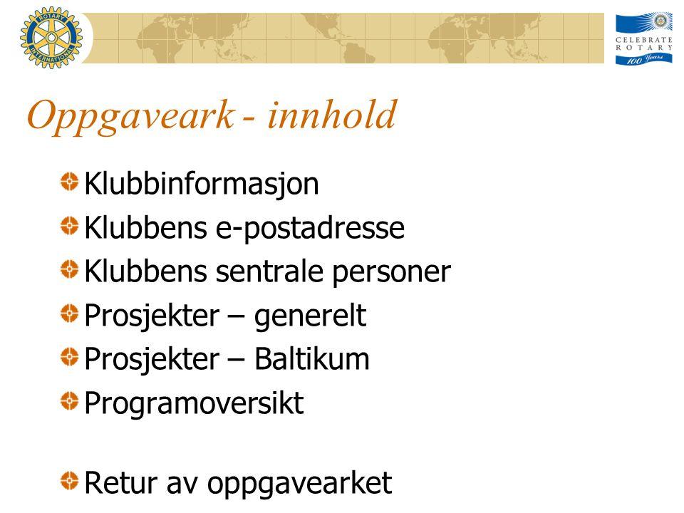 Oppgaveark - innhold Klubbinformasjon Klubbens e-postadresse Klubbens sentrale personer Prosjekter – generelt Prosjekter – Baltikum Programoversikt Retur av oppgavearket