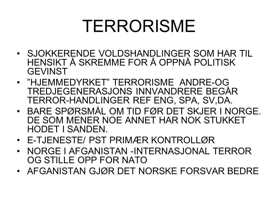"""TERRORISME SJOKKERENDE VOLDSHANDLINGER SOM HAR TIL HENSIKT Å SKREMME FOR Å OPPNÅ POLITISK GEVINST """"HJEMMEDYRKET"""" TERRORISME ANDRE-OG TREDJEGENERASJONS"""