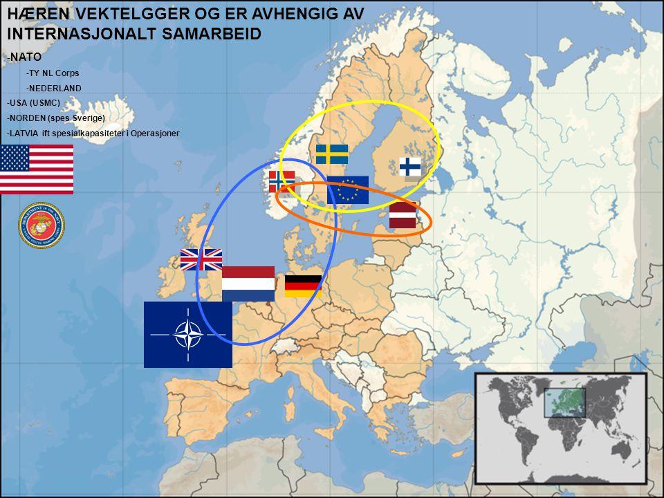 Internasjonalt Samarbeid HÆREN VEKTELGGER OG ER AVHENGIG AV INTERNASJONALT SAMARBEID -NATO -TY NL Corps -NEDERLAND -USA (USMC) -NORDEN (spes Sverige)