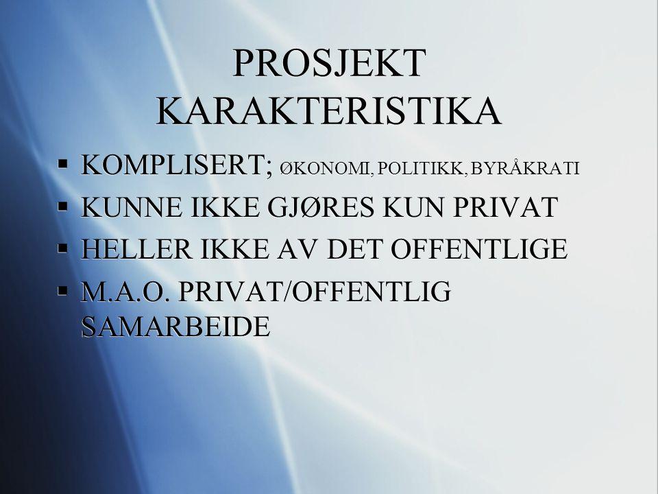 PROSJEKT KARAKTERISTIKA  KOMPLISERT; ØKONOMI, POLITIKK, BYRÅKRATI  KUNNE IKKE GJØRES KUN PRIVAT  HELLER IKKE AV DET OFFENTLIGE  M.A.O. PRIVAT/OFFE