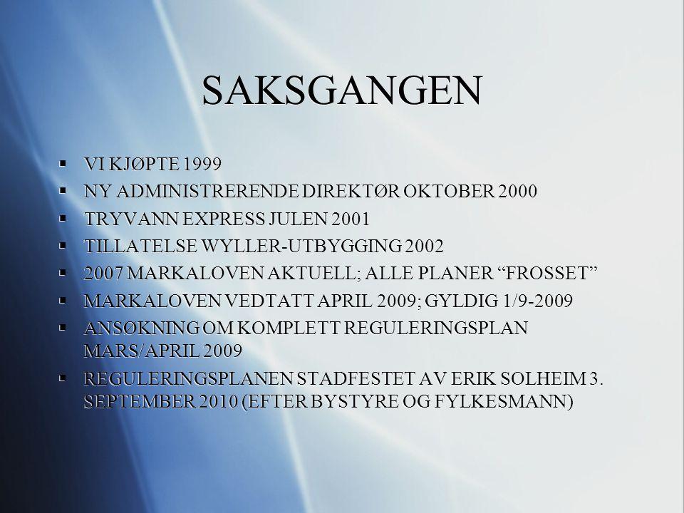 SAKSGANGEN  VI KJØPTE 1999  NY ADMINISTRERENDE DIREKTØR OKTOBER 2000  TRYVANN EXPRESS JULEN 2001  TILLATELSE WYLLER-UTBYGGING 2002  2007 MARKALOVEN AKTUELL; ALLE PLANER FROSSET  MARKALOVEN VEDTATT APRIL 2009; GYLDIG 1/9-2009  ANSØKNING OM KOMPLETT REGULERINGSPLAN MARS/APRIL 2009  REGULERINGSPLANEN STADFESTET AV ERIK SOLHEIM 3.