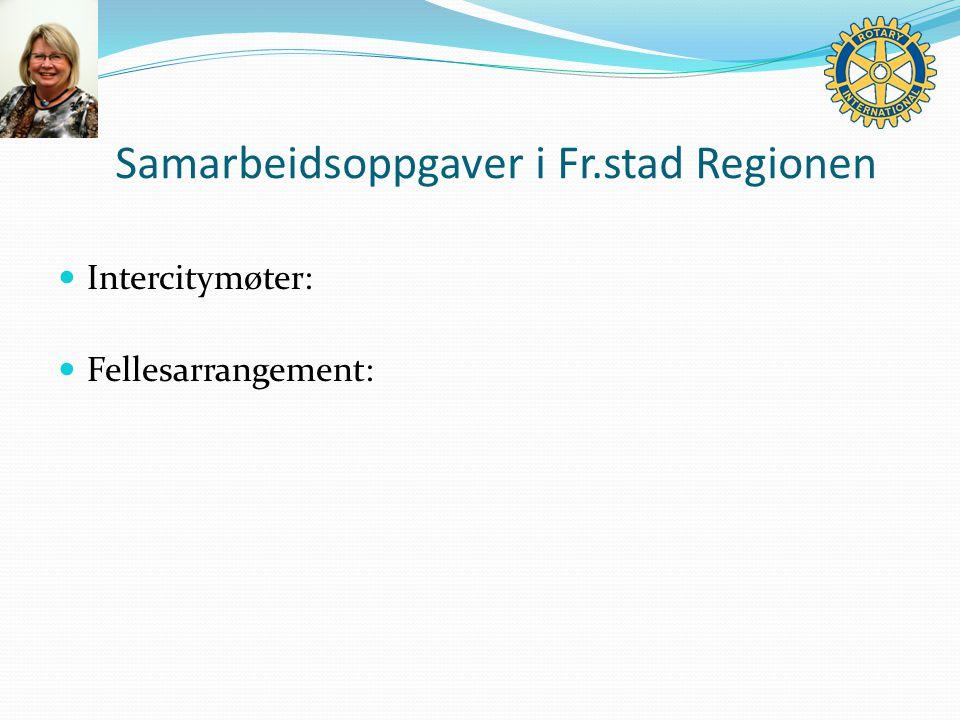 Samarbeidsoppgaver i Fr.stad Regionen Intercitymøter: Fellesarrangement: