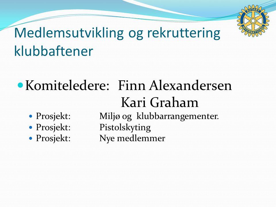Medlemsutvikling og rekruttering klubbaftener Komiteledere: Finn Alexandersen Kari Graham Prosjekt:Miljø og klubbarrangementer.