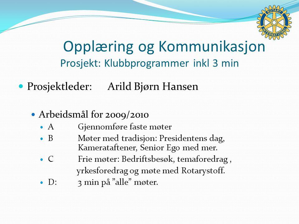 Prosjektleder:Arild Bjørn Hansen Arbeidsmål for 2009/2010 AGjennomføre faste møter BMøter med tradisjon: Presidentens dag, Kamerataftener, Senior Ego med mer.