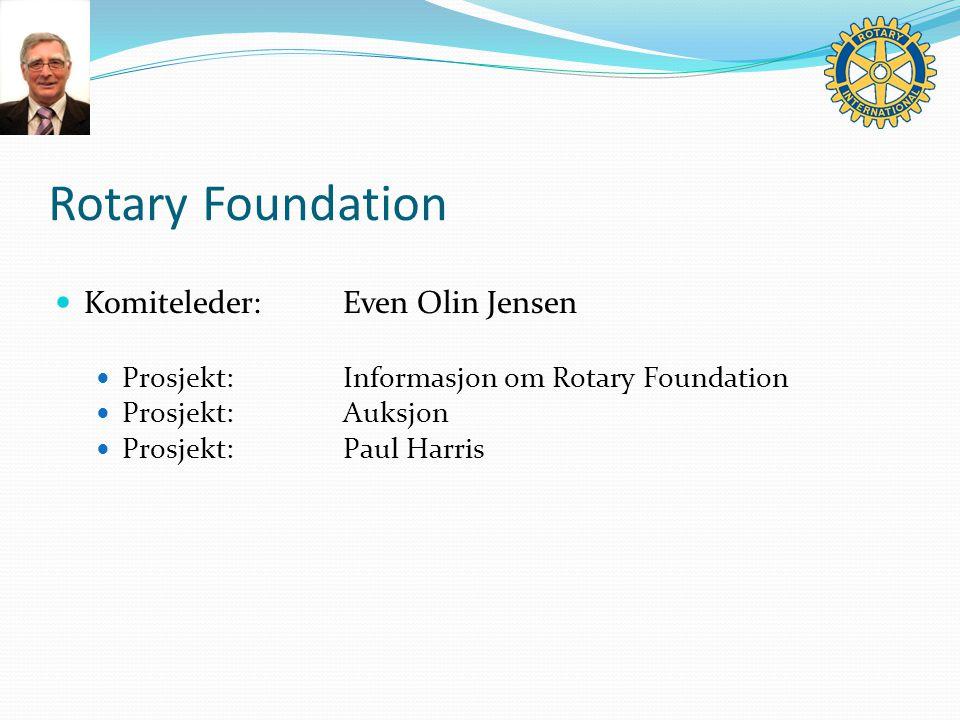 Rotary Foundation Komiteleder:Even Olin Jensen Prosjekt:Informasjon om Rotary Foundation Prosjekt:Auksjon Prosjekt:Paul Harris