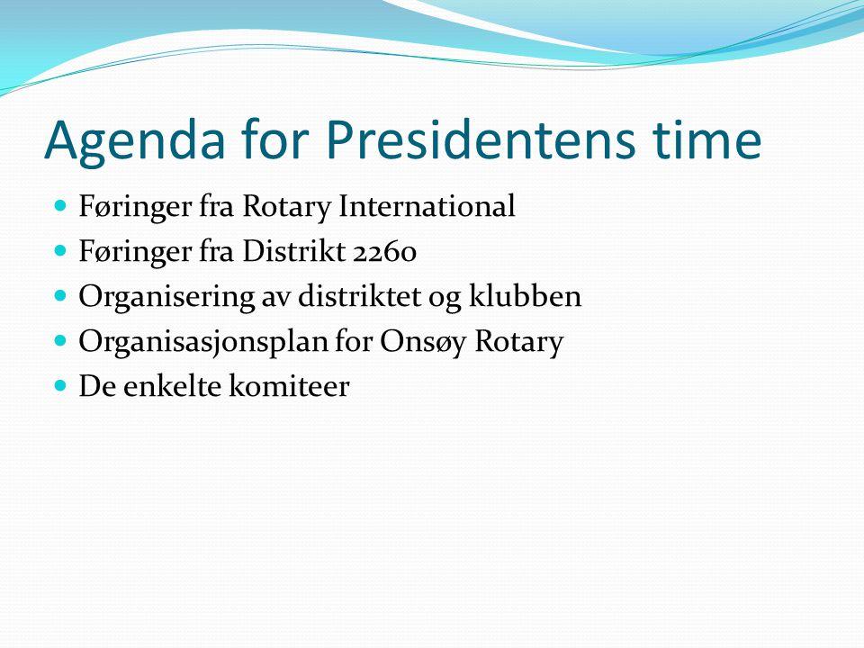 Agenda for Presidentens time Føringer fra Rotary International Føringer fra Distrikt 2260 Organisering av distriktet og klubben Organisasjonsplan for Onsøy Rotary De enkelte komiteer