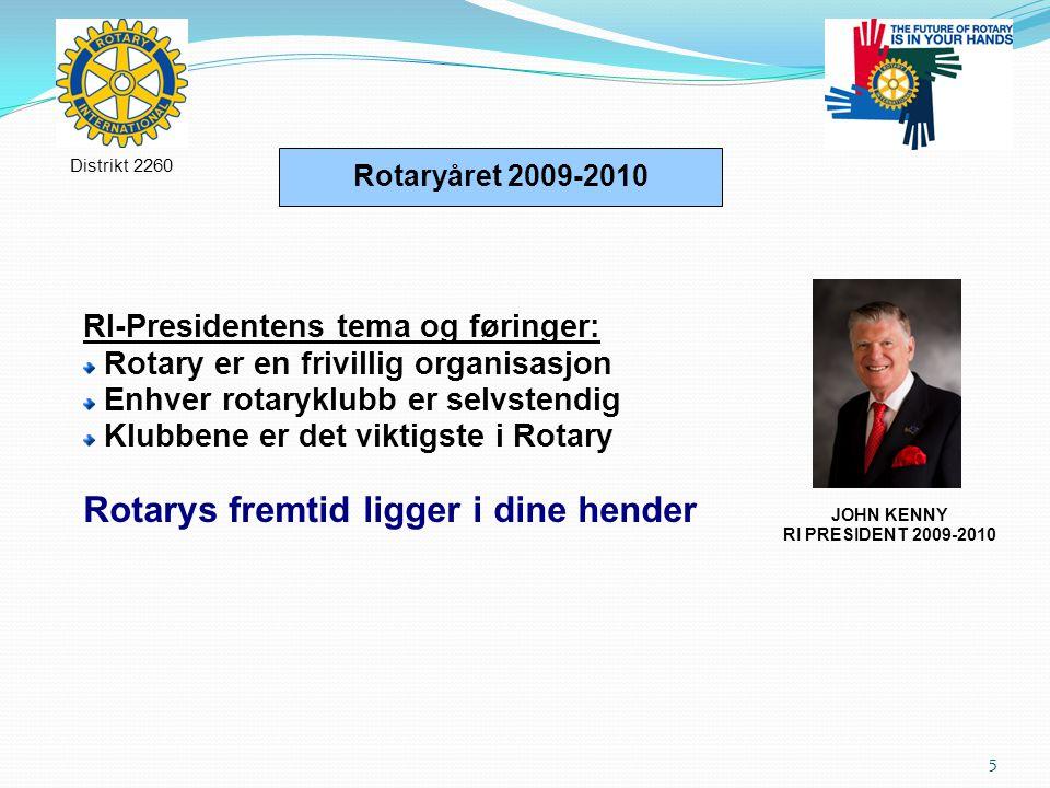 5 Rotaryåret 2009-2010 RI-Presidentens tema og føringer: Rotary er en frivillig organisasjon Enhver rotaryklubb er selvstendig Klubbene er det viktigste i Rotary Rotarys fremtid ligger i dine hender Distrikt 2260 JOHN KENNY RI PRESIDENT 2009-2010