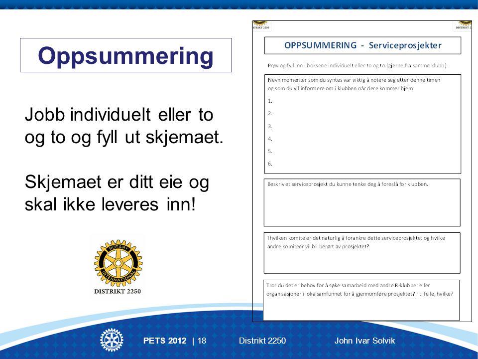Oppsummering Jobb individuelt eller to og to og fyll ut skjemaet.