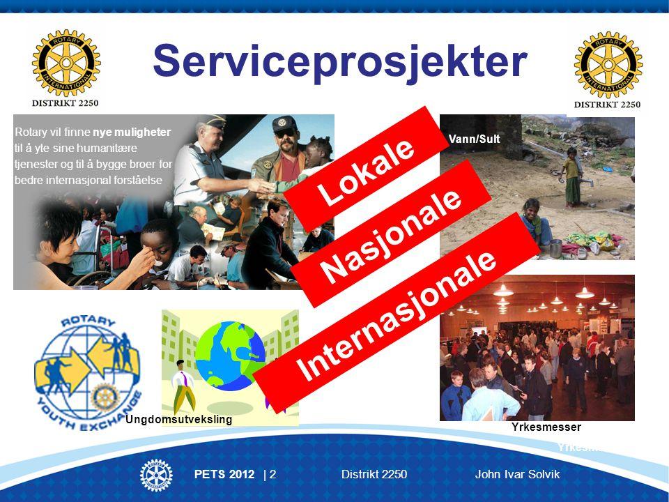 PETS 2012 | 2Distrikt 2250 John Ivar Solvik Serviceprosjekter Rotary vil finne nye muligheter til å yte sine humanitære tjenester og til å bygge broer for bedre internasjonal forståelse Vann/Sult Yrkesmesser Lokale Nasjonale Internasjonale Ungdomsutveksling Yrkesmesser