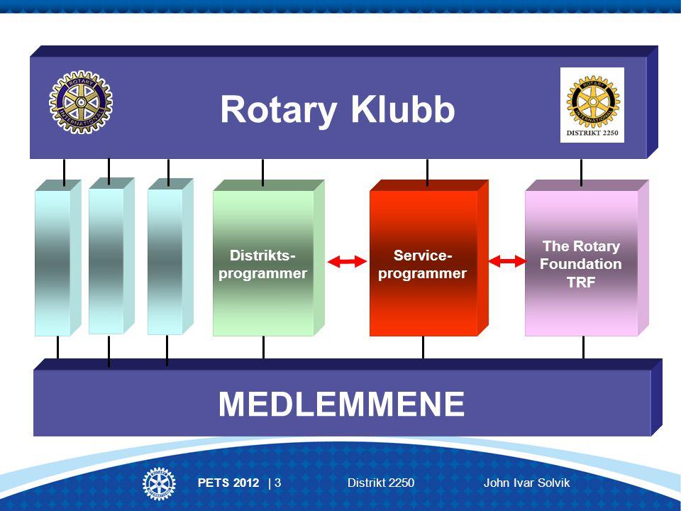 PETS 2012 | 3Distrikt 2250 John Ivar Solvik Distrikts- programmer Service- programmer The Rotary Foundation TRF Rotary Klubb MEDLEMMENE