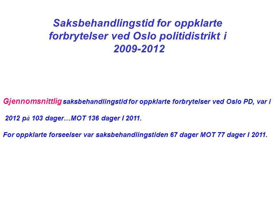 Saksbehandlingstid for oppklarte forbrytelser ved Oslo politidistrikt i 2009-2012 Gjennomsnittlig saksbehandlingstid for oppklarte forbrytelser ved Oslo PD, var i 2012 p å 103 dager … MOT 136 dager I 2011.