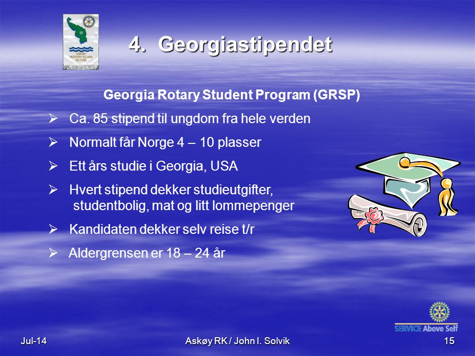 Jul-14Askøy RK / John I. Solvik15 4. Georgiastipendet Georgia Rotary Student Program (GRSP)  Ca.