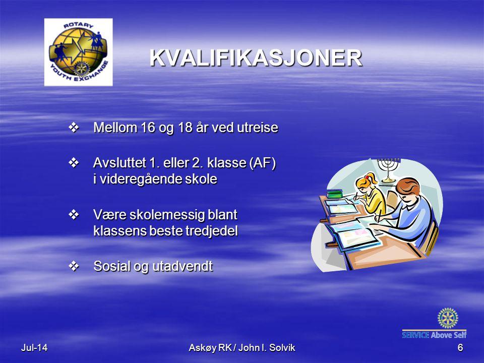 Jul-14Askøy RK / John I. Solvik6 KVALIFIKASJONER  Mellom 16 og 18 år ved utreise  Avsluttet 1.