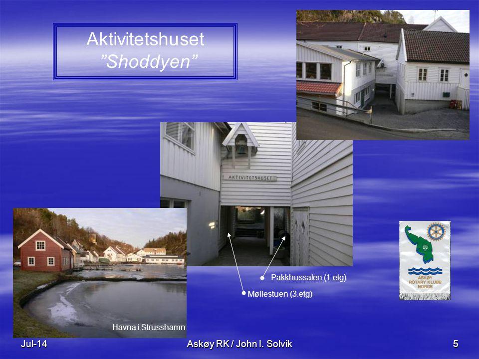 """Jul-14Askøy RK / John I. Solvik5 Aktivitetshuset """"Shoddyen"""" Pakkhussalen (1.etg) Møllestuen (3.etg) Havna i Strusshamn"""
