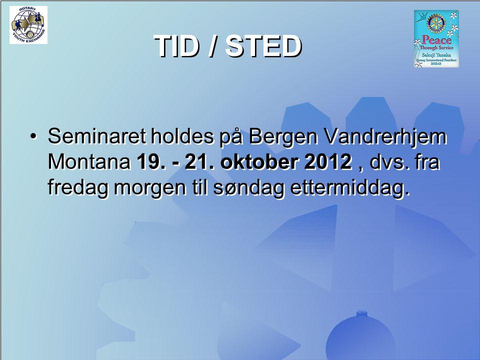 TID / STED Seminaret holdes på Bergen Vandrerhjem Montana 19. - 21. oktober 2012, dvs. fra fredag morgen til søndag ettermiddag.