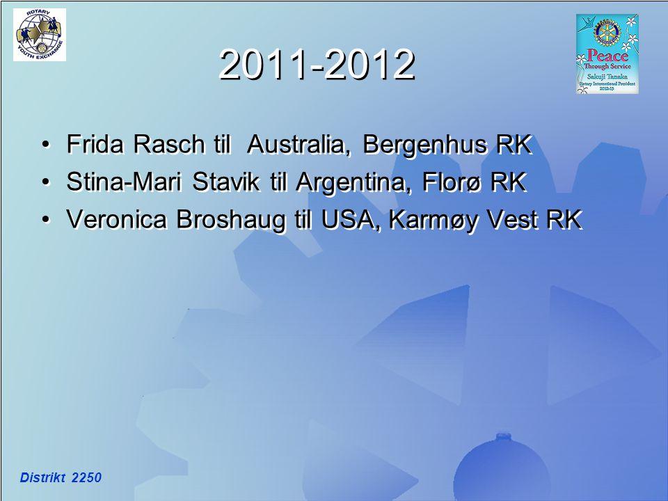 2011-2012 Frida Rasch til Australia, Bergenhus RK Stina-Mari Stavik til Argentina, Florø RK Veronica Broshaug til USA, Karmøy Vest RK Frida Rasch til