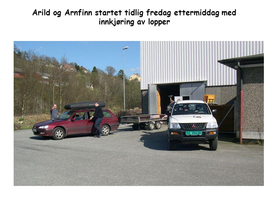 Arild og Arnfinn startet tidlig fredag ettermiddag med innkjøring av lopper