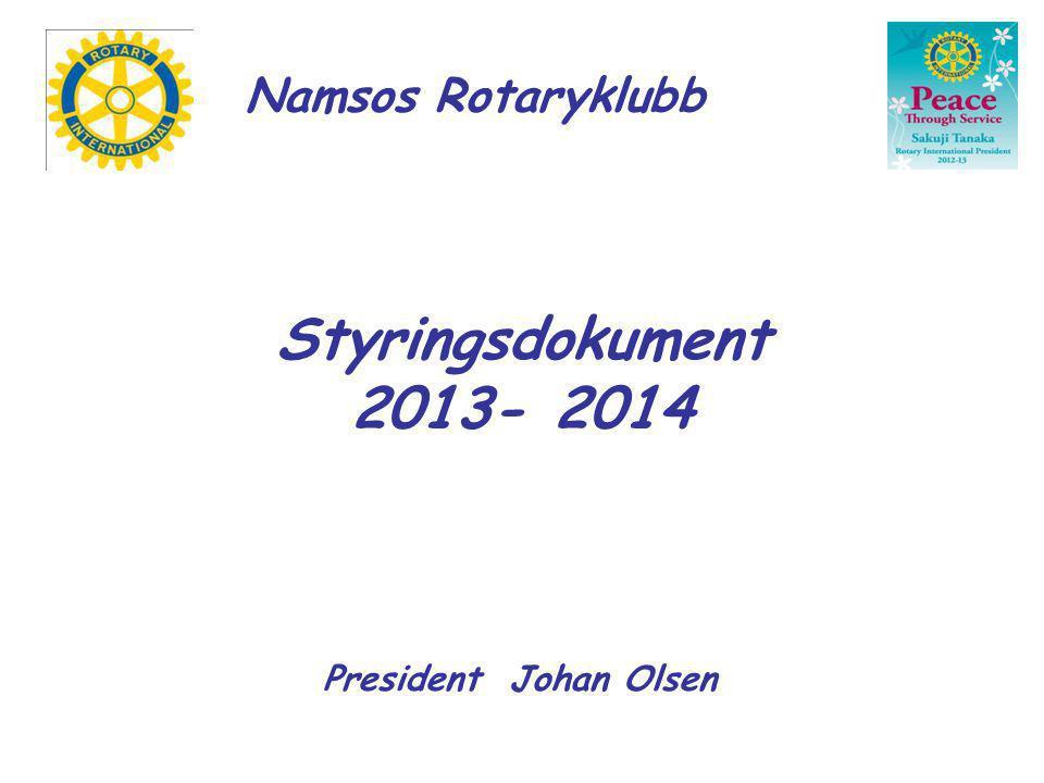 Namsos Rotary : Styringsdokument 2013 - 2014 PROSJEKTER Innsamling til kreftaksjonen sammen med russen ved Olav Duun videregående skole.