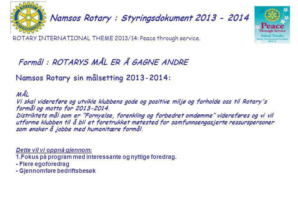 Namsos Rotary : Styringsdokument 2013 -2014 INTERNASJONALT ARBEID Arbeide med å skape forståelse for og informasjon om Rotary Foundations aktiviteter i klubben.