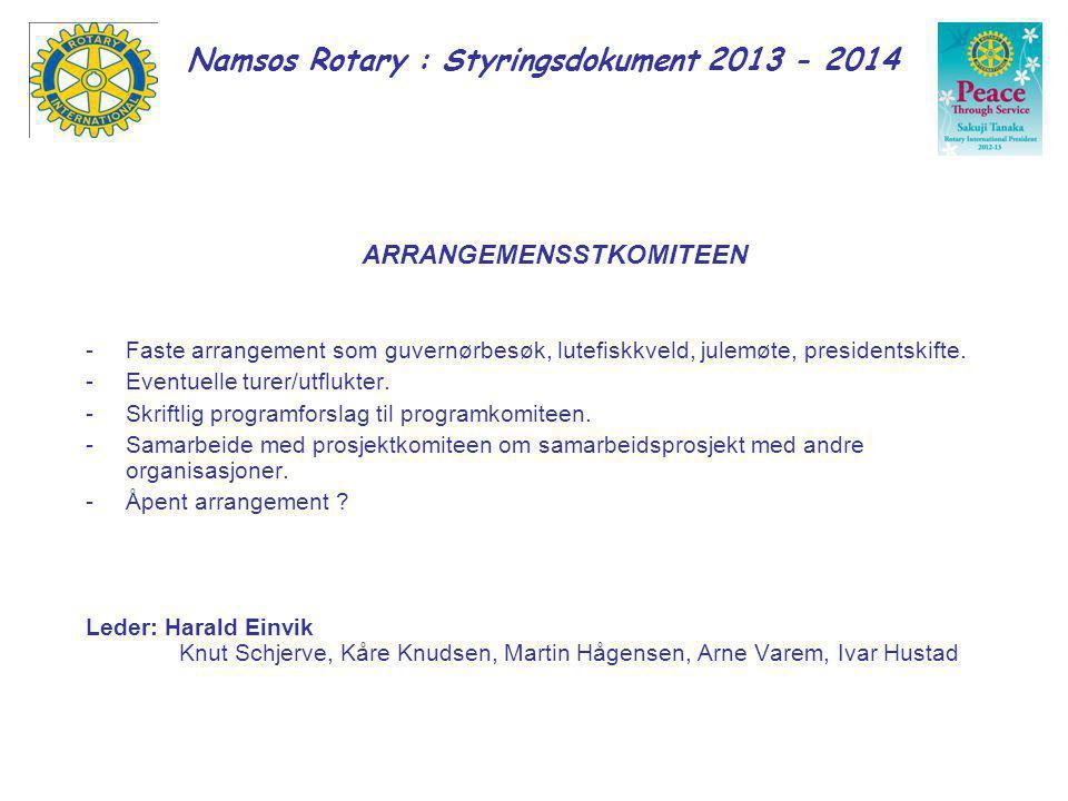 Namsos Rotary : Styringsdokument 2013 - 2014 MEDLEMSKAP OG KLASSIFIKASJON/MANGFOLD Påse at klubbens klassifikasjonsoversikt er oppdatert.