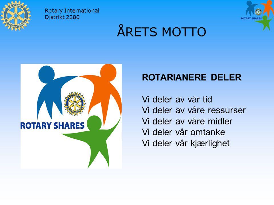 Rotary International Distrikt 2280 ÅRETS MOTTO ROTARIANERE DELER Vi deler av vår tid Vi deler av våre ressurser Vi deler av våre midler Vi deler vår omtanke Vi deler vår kjærlighet