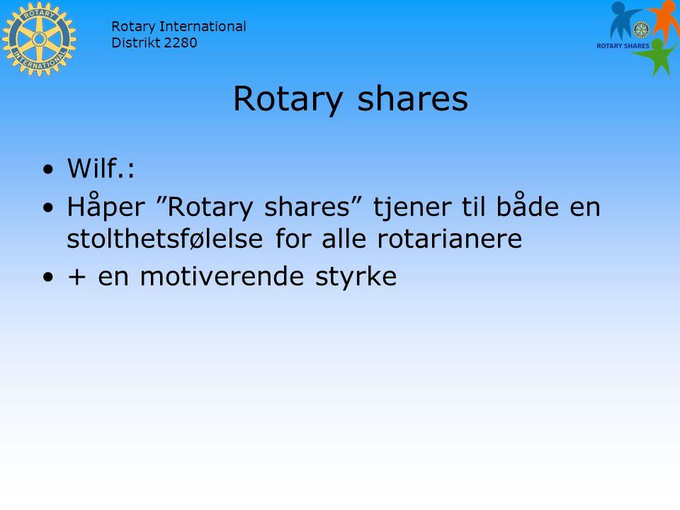 Rotary International Distrikt 2280 Rotary shares Wilf.: Håper Rotary shares tjener til både en stolthetsfølelse for alle rotarianere + en motiverende styrke