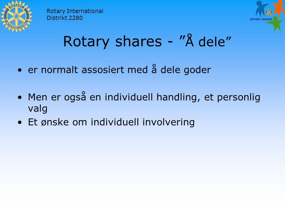Rotary International Distrikt 2280 Rotary shares - Å dele er normalt assosiert med å dele goder Men er også en individuell handling, et personlig valg Et ønske om individuell involvering