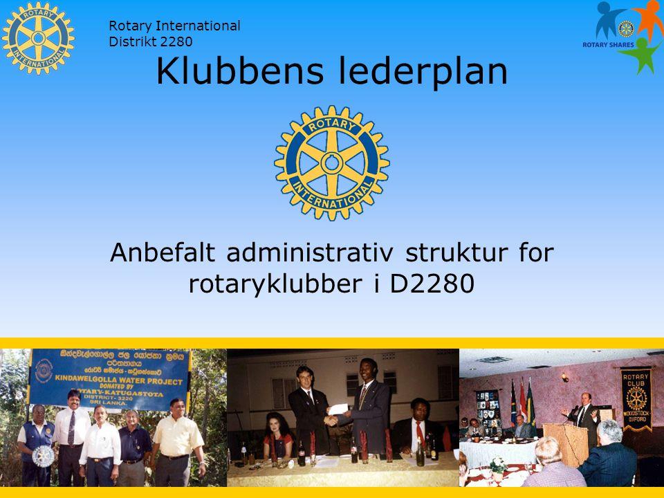 Rotary International Distrikt 2280 Klubbens lederplan Anbefalt administrativ struktur for rotaryklubber i D2280