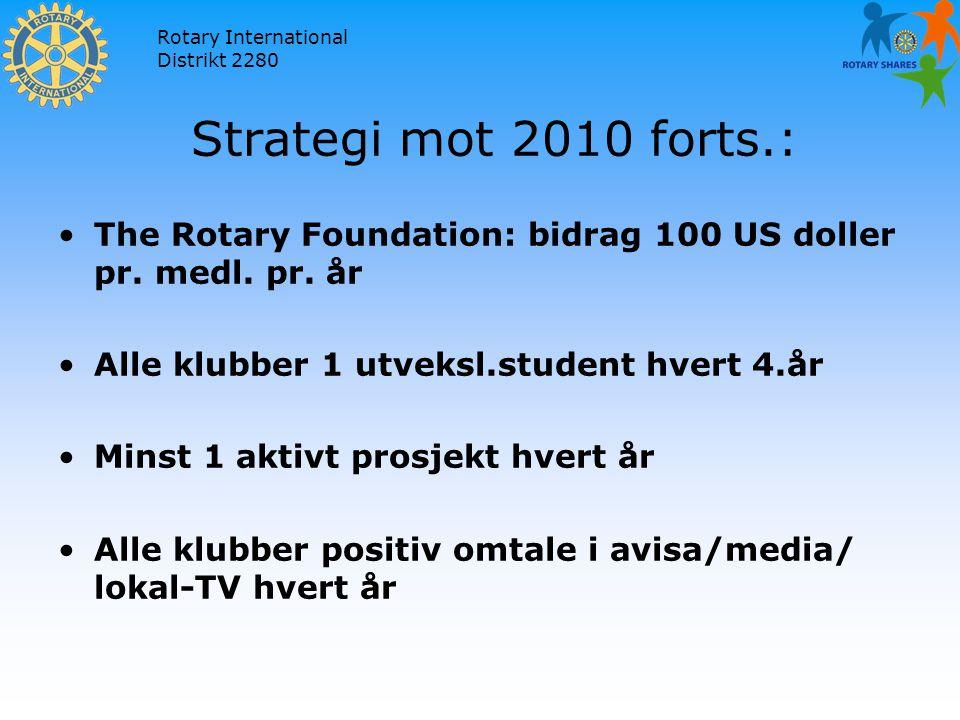 Rotary International Distrikt 2280 Strategi mot 2010 forts.: The Rotary Foundation: bidrag 100 US doller pr.