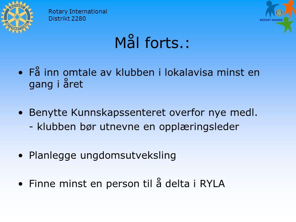 Rotary International Distrikt 2280 Mål forts.: Få inn omtale av klubben i lokalavisa minst en gang i året Benytte Kunnskapssenteret overfor nye medl.