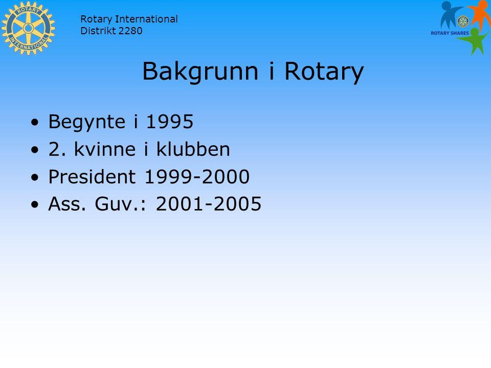 Rotary International Distrikt 2280 Bakgrunn i Rotary Begynte i 1995 2.