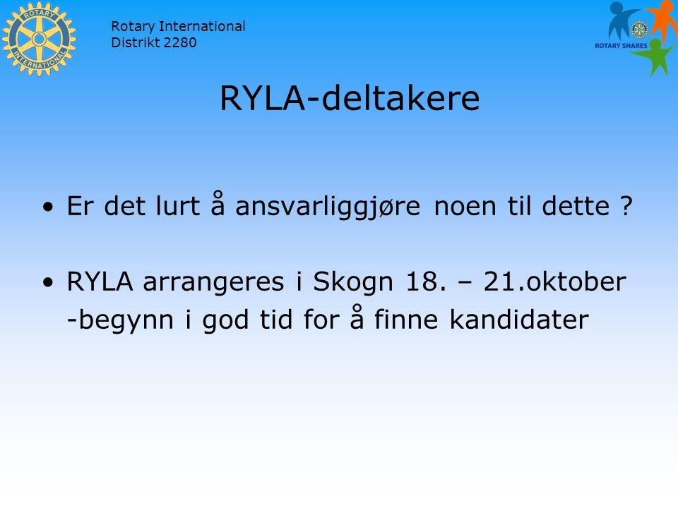 Rotary International Distrikt 2280 RYLA-deltakere Er det lurt å ansvarliggjøre noen til dette .