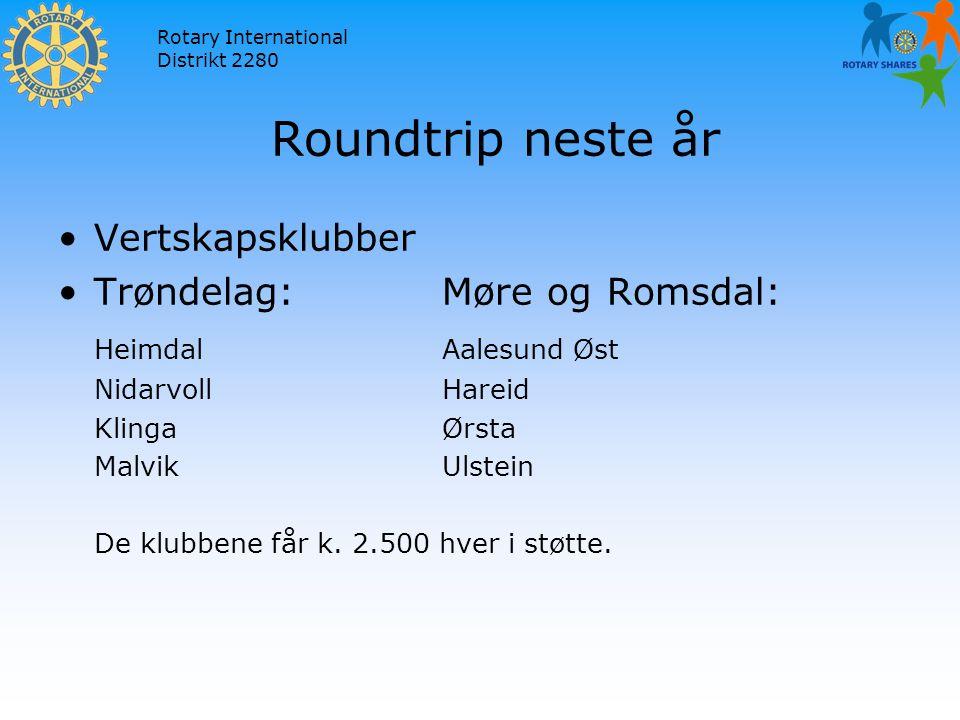 Rotary International Distrikt 2280 Roundtrip neste år Vertskapsklubber Trøndelag:Møre og Romsdal: HeimdalAalesund Øst NidarvollHareid KlingaØrsta MalvikUlstein De klubbene får k.