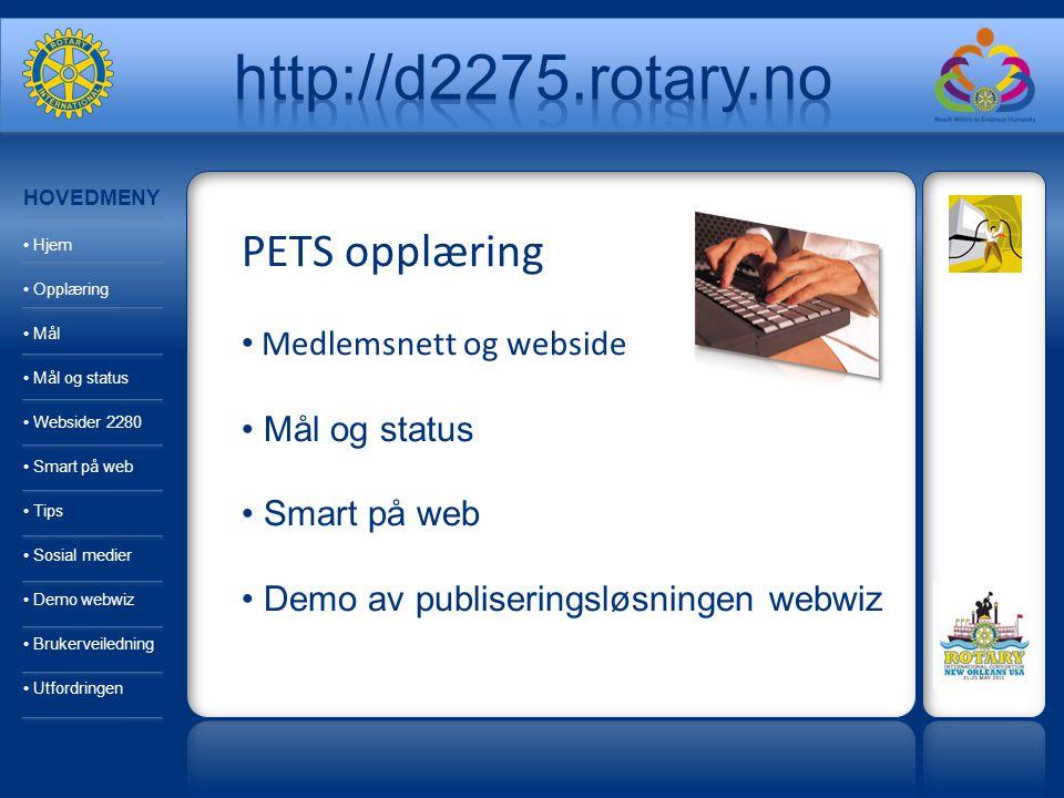 PETS opplæring Medlemsnett og webside Mål og status Smart på web Demo av publiseringsløsningen webwiz HOVEDMENY Hjem Opplæring Mål Mål og status Websi