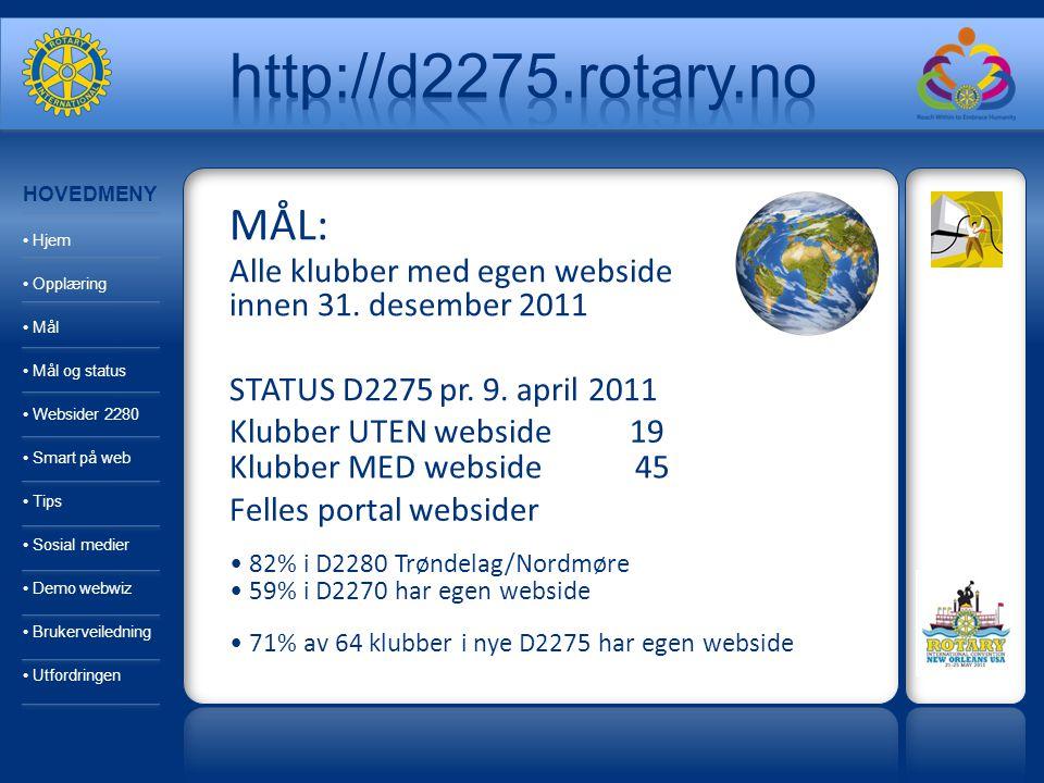 MÅL: Alle klubber med egen webside innen 31. desember 2011 STATUS D2275 pr. 9. april 2011 Klubber UTEN webside 19 Klubber MED webside 45 Felles portal