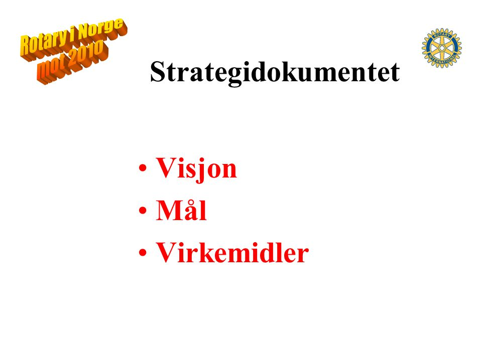 Strategidokumentet Visjon Mål Virkemidler